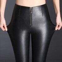 High Waist Zipper Design Skinny Pu Leather Pants Women Sexy Plus Velvet Warm Faux Pants Woman Pencil Trousers