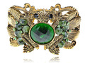 Antique Gold Plated  Green Crystal Rhinestone Frog Toad Cuff Bracelet Bangles