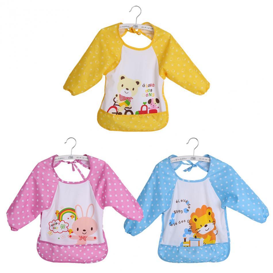 Baby Bibs Oversized Infant Toddler Baby Waterproof Long Sleeved Cartoon Print Bibs For 1-3 Years Old Baby Feeding Accessories