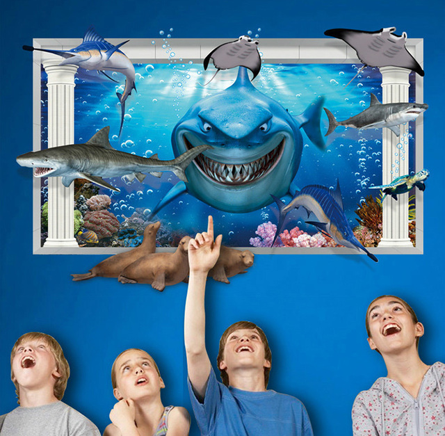 New 3D Finding Nemo Wall Stickers For Kids Rooms Decor Shark Diy Mural  Decals Removable Pvc