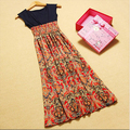 Brand New Maxi Dress Bohemia Natural Casual Lanon O-Neck Ankle-Length Women Dress Chiffon Print Patchwork Summer Dress