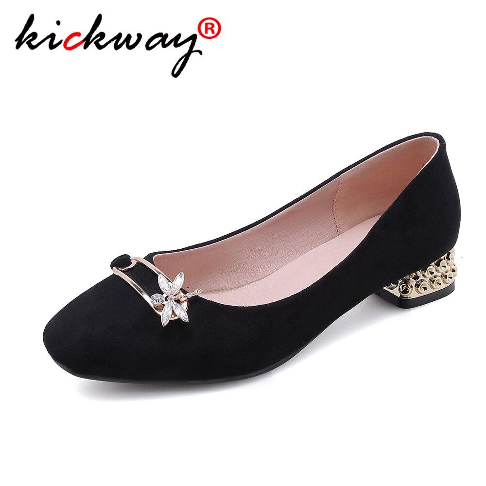Большие размеры 34 43; женские туфли лодочки; тонкие замшевые туфли с прозрачными металлическими пуговицами; женские туфли на среднем толстом квадратном каблуке; черный цвет