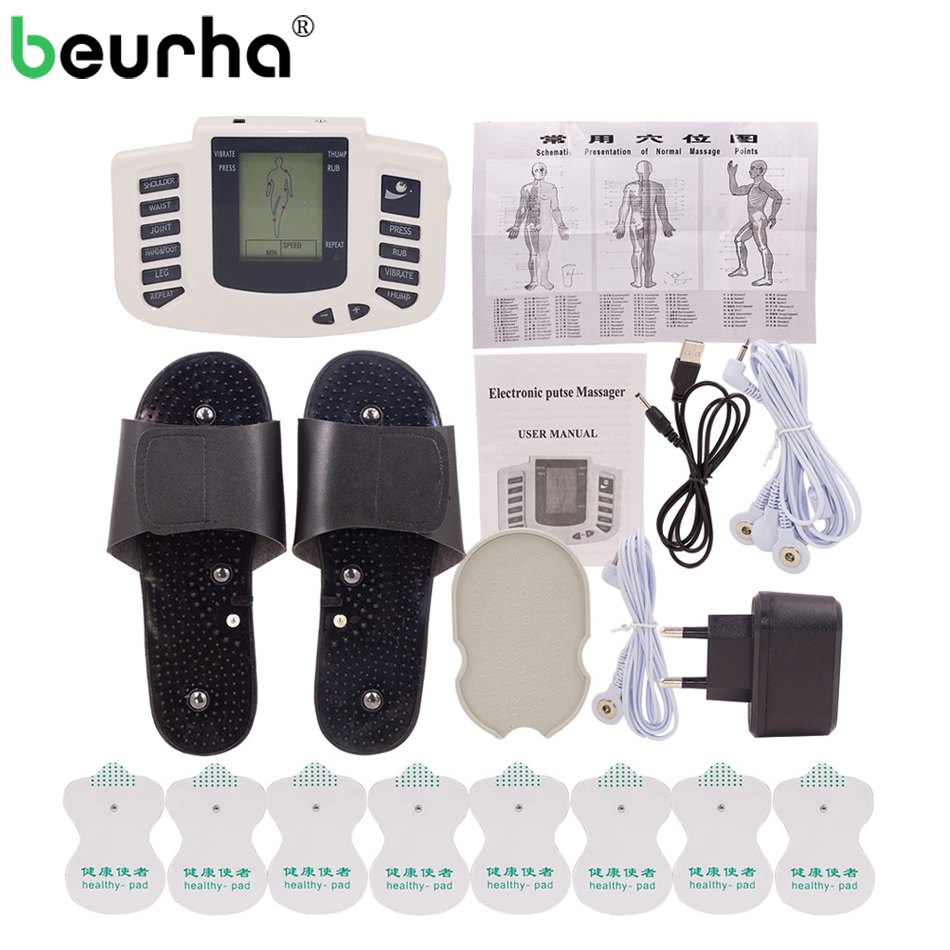 Beurha 16 Electrode Pads Electrical Stimulator Full Body Massage Tens Acupuncture Pulse Pain Relax Russian Button Health Care free shipping eco friendly wallpaper peacock print embossed pure paper tv background wallpaper