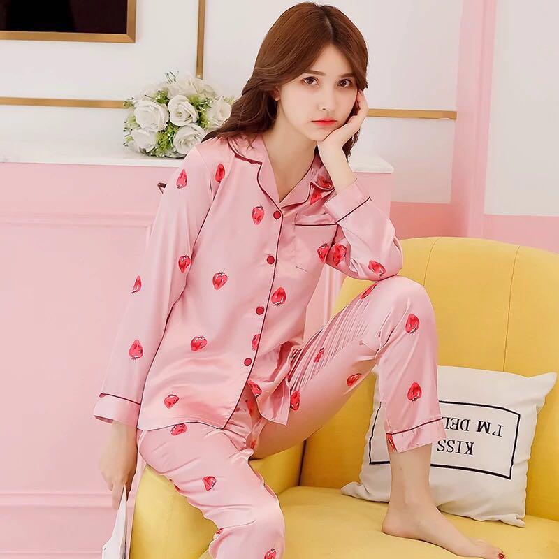 autumn Silk   Pajama     Set   Women Comfortable Print Pyjama Long Sleeve Sleepwear Suit Ladies Nightgown lovely pink casual homewear