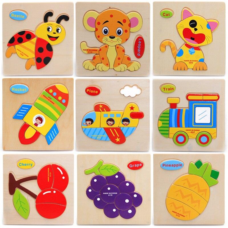 4 Шт./лот детей деревянные мультфильм 3D головоломки игрушки/Дети Ребенок фруктовые животные собрать пазлы обучения образовательные игрушки...