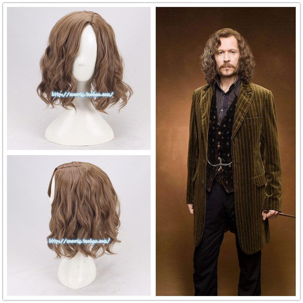 Fast Deliver Mens Sirius Brown Wavy Wig Cosplay Wig Halloween Role Play Sirius Black Hair Costumes With Hair Cap Ture 100% Guarantee