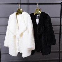 חורף הנשים פו פרווה מעילים מתוקים לבן חם נשים פרווה מזויף מעיל שחור מעיל מעיל מינק פו פרווה האופנה גובה איכות A3874