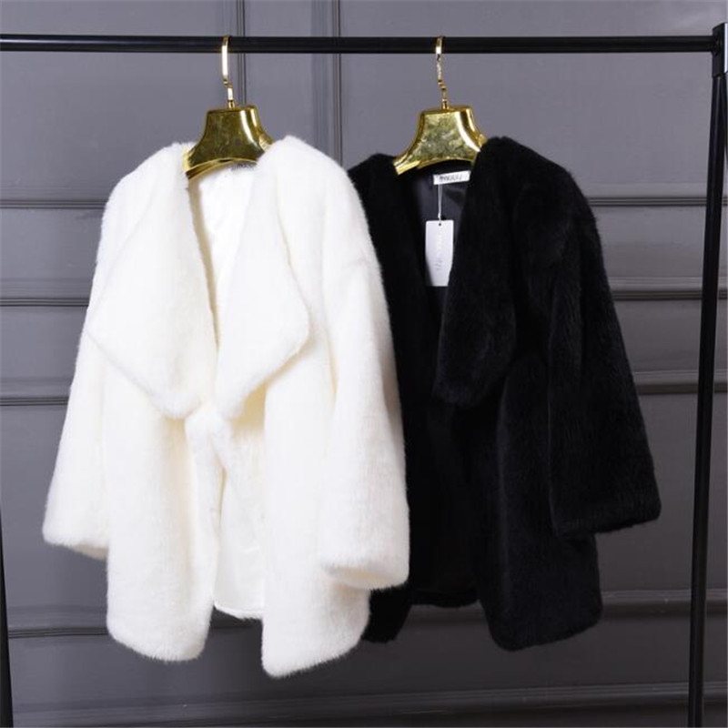 Winter Women Faux Fur Sweet Coats White Warm Womens Fake Fur Jacket Fashion Hight Quality Faux Mink Fur Coat Jacket Black A3874
