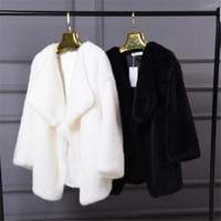 Winter Women Faux Fur Sweet Coats White Warm Womens Fake Fur Jacket Fashion Hight Quality Faux Mink Fur Coat Jacket Black A3874