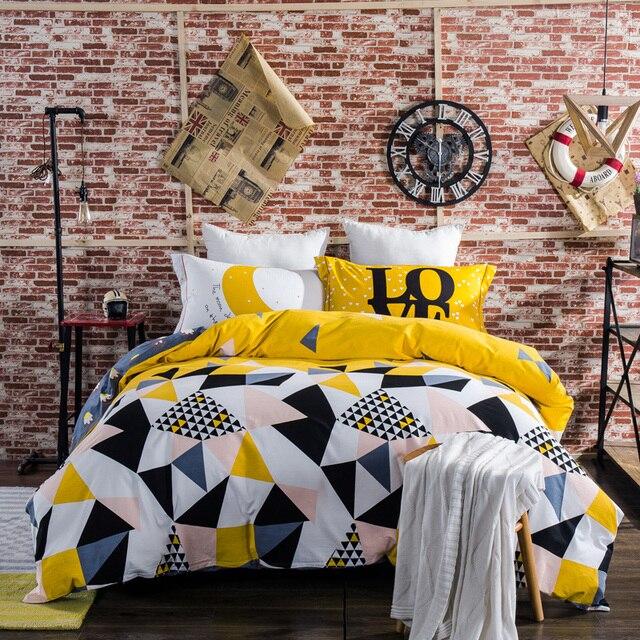 Geometry Shape 100% Sanding Cotton Winter Duvet Cover Flat Sheet Pillowcase  4PCS Complete Boys Bedding Set Queen King Kids Great Ideas