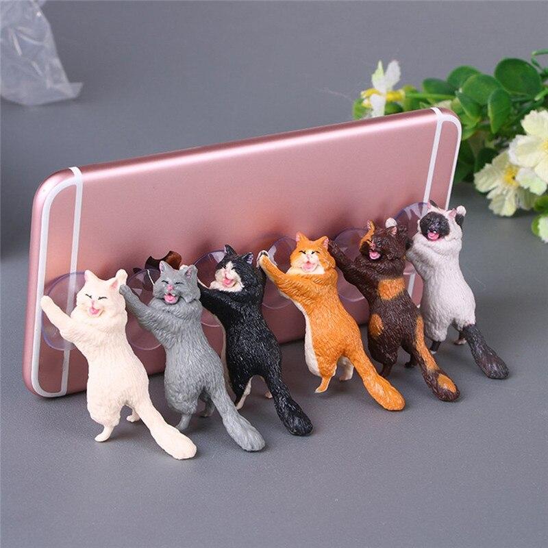 1pc Cat Figurine Miniature Cat Sucker Design Phone Holder Mini Fairy Garden Cartoon Statue Craft Home Car Decorative