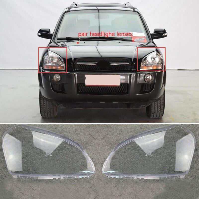1 paire de Phare De Voiture Automatique Projecteur Lentille Claire Couverture Gauche + Droite Pour HYUNDAI TUCSON 2005 2006 2007 2008 2009