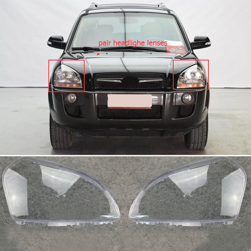1pair Auto Car Headlight Headlamp Clear Lens Cover Left + Right For HYUNDAI TUCSON 2005 2006 2007 2008 2009