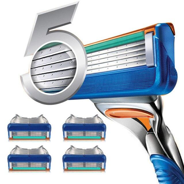 4 unidades/pacote Lâminas de Barbear de Segurança Lâmina de Barbear Para Barbear Cassete, 5 Lâmina Compatível Para Máquina de fusão gillette proglide