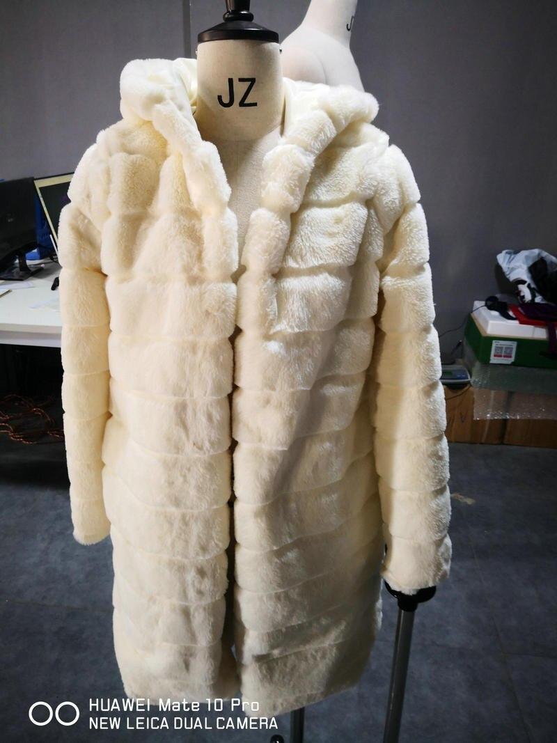 ZOGAA 2019 New Thick Faux Fur Coat Hooded High Quality Fashion Slim Milk White Camel Jacket Fake Rabbit