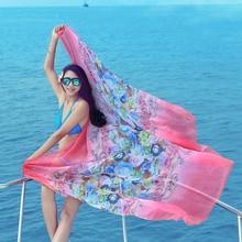 180 * 150cm 2018 Vasaras šalle Drukāt Silk Feeling lielgabarīta šifons Sieviešu pludmales vāciņš Wrap Sarong sauļošanās Long Cape Shawl