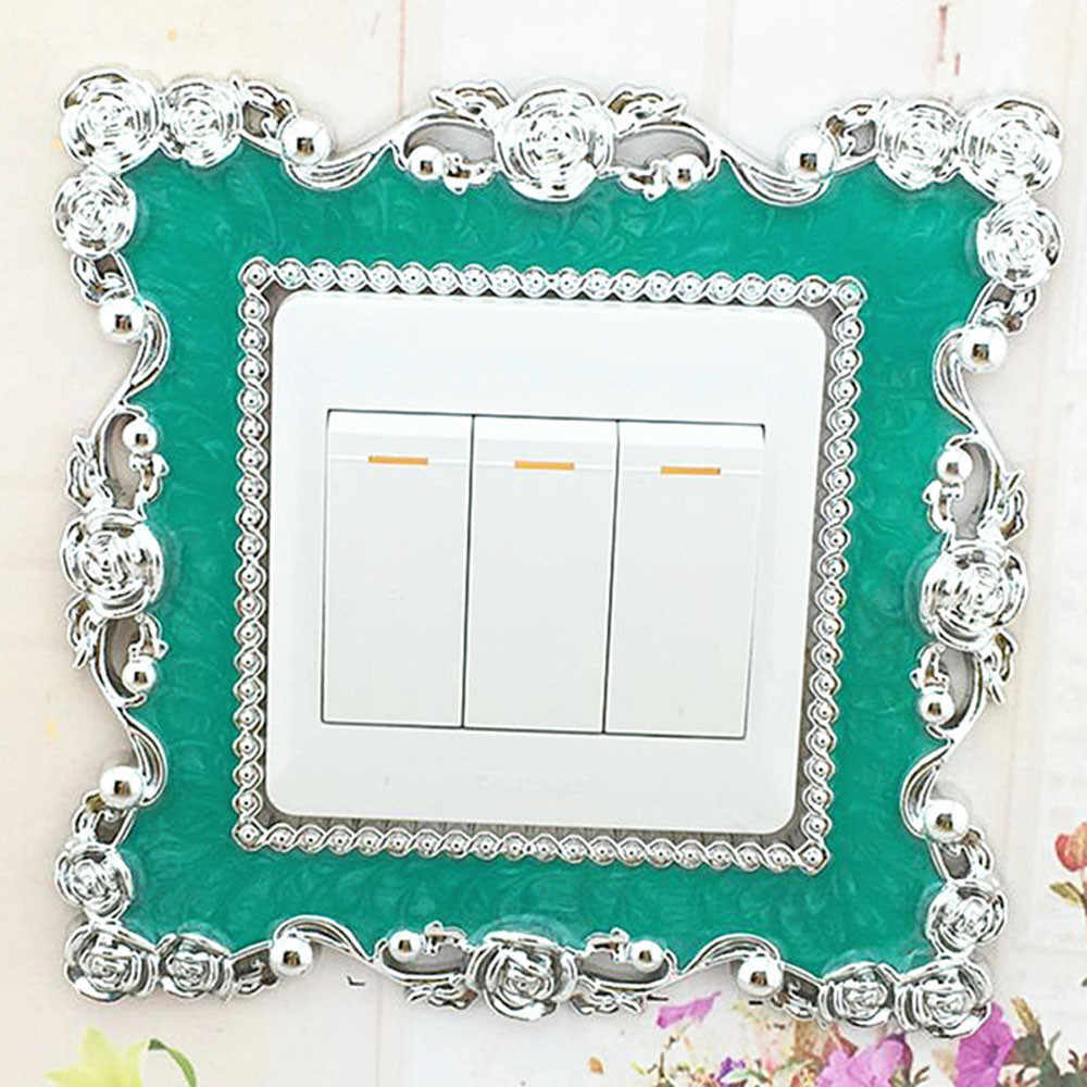 1 adet Ev Anahtarı Kapak Kare Şekli Anahtarı Duvar ışık soketi Çıkartmalar 86X86mm Reçine duvar sanatı çift beyaz yeşil Oda Dekorasyon