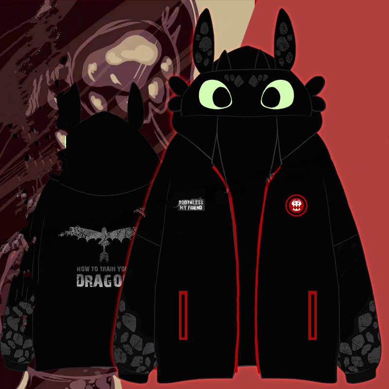 New Anime Movie How to Train Your Dragon 3 Cosplay Costumes Cute Toothless Hoodies Sweater Coat Jackets Daily casual Sweatshirts