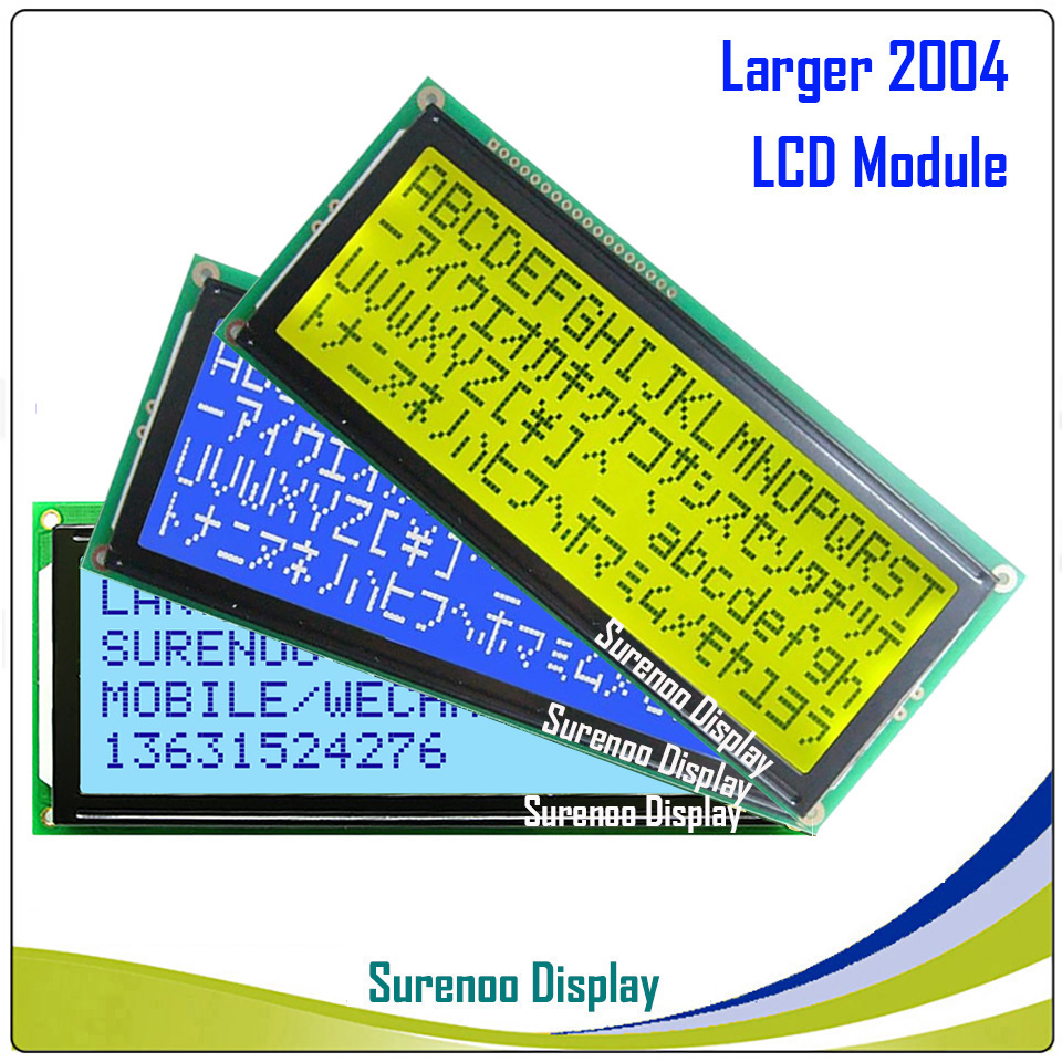 Larger 204 20X4 2004 Character LCD Module Display Screen LCM Blue Yellow Green With LED Backlight