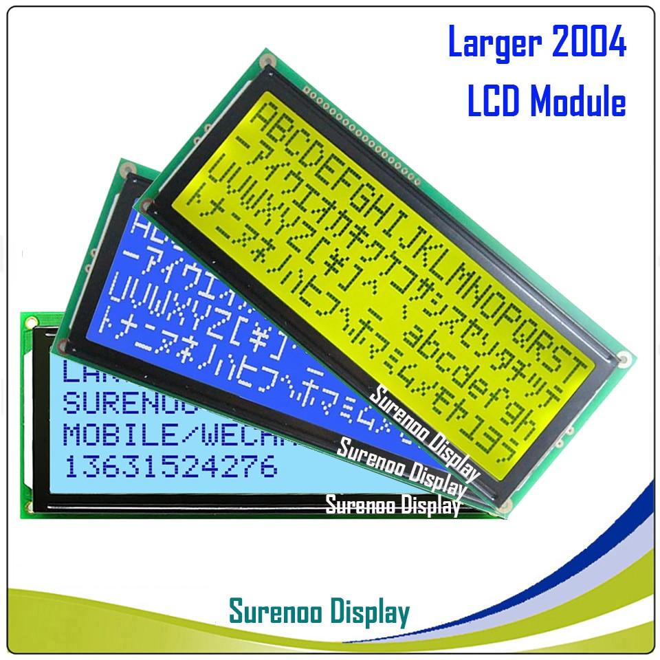 Maior 204 20X4 2004 LCD Character Display Module LCM Tela Verde Amarelo Azul com Retroiluminação LED
