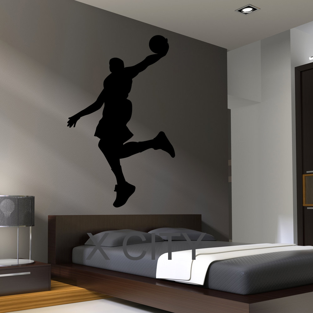 Black Wall Decal Basketball Dunk Silhouette For Bedroom