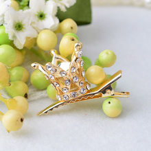 New Fashion Shine Rhinestone Crystal Crown Coronas Hairpin For Baby Girls Princess Hair Clips Cute Girls Hair Accessories(China)