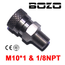 "Paintball PCP Air Rifle 8mm Stainless Quick Release Disconnect Coupler Fitting 1/8""NPT M10*1 Female Socket for Filling"