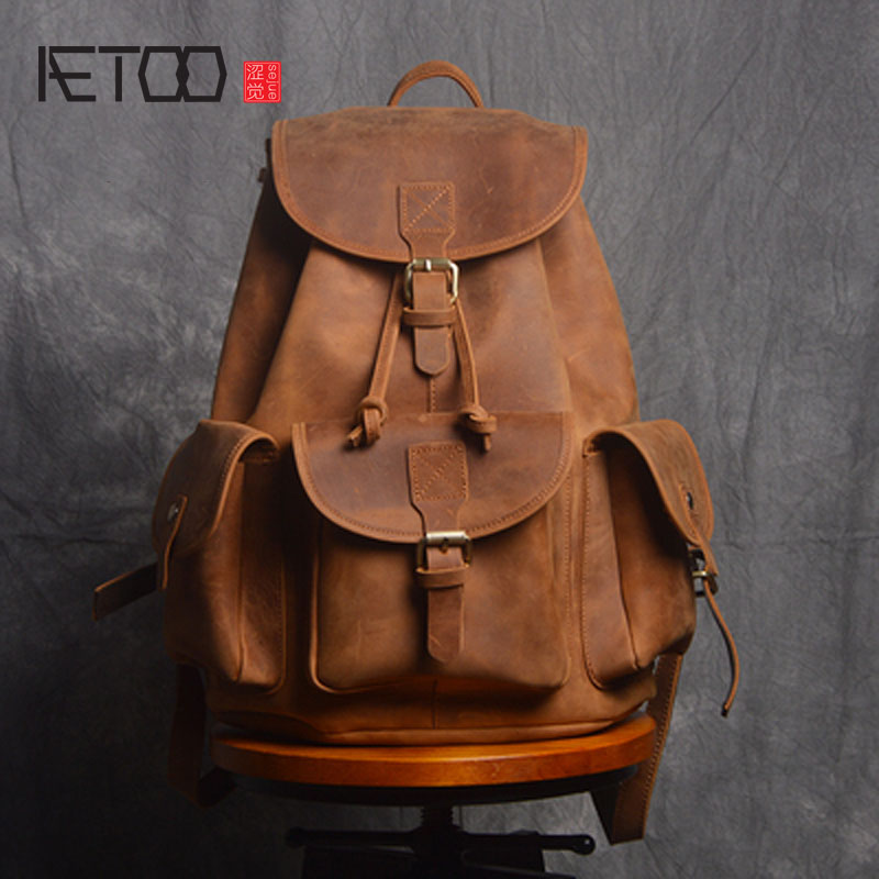 AETOO Retro Shoulder Bag Genuine Handmade Men Women Casual Travel Backpack Large Capacity First Layer Leather aetoo retro shoulder bag genuine handmade men women casual travel backpack large capacity first layer leather