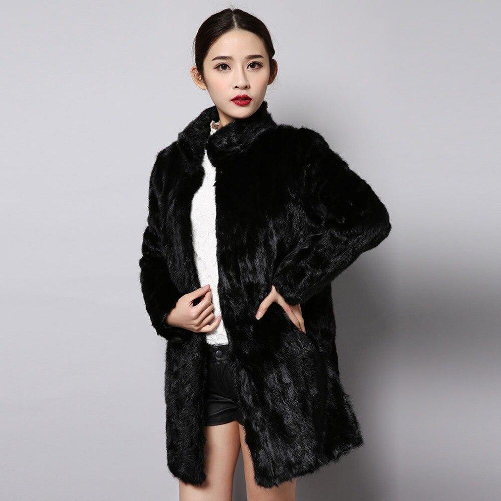 Réel Naturel Femmes Outwear Couleur 151250 Histoire Manteau Veste Chaud De Hiver Fourrure Vison Long Style Noir qCw1x0