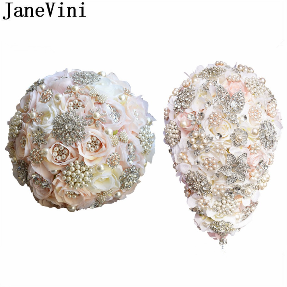 JaneVini Luxury Waterfall Bride Flower Bouquet Crystals Sparkly Beaded Pearls Bridal Wedding Bouquet Pink Champagne Rose Jewelry