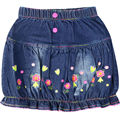 Girls embroidery Letter flowers pattern denim Skirts Kids jeans with pockets button childrens's summer cute clothes XML-A66787