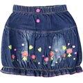 Niñas bordado Carta patrón de flores Faldas de mezclilla Niños jeans con bolsillos y botones de los niños del verano ropa linda XML-A66787
