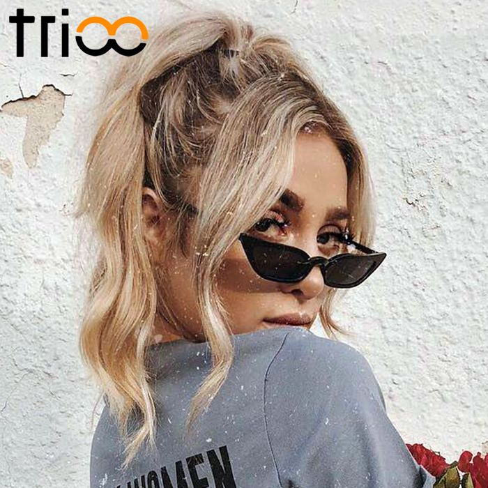 TRIOO Retro Sungalsses for women Fashion Trending Brand Design Narrow Sun Glasses Female UV400 Jelly Clear Color Shades Lunette ...