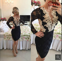 2017 Little Black Short Lace Appliques Cocktail Dresses Long Sleeve Sheer Back Sexy Petite Girls Knee