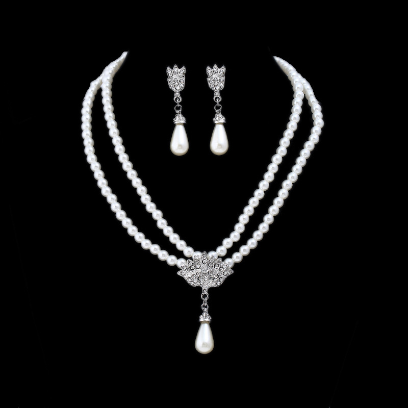 Bridal Jewelry Set Pearls Water Drop Necklace Stud Earrings Wedding Jewelry Sets for bride Bridesmaids Wedding Party Accessories(China)