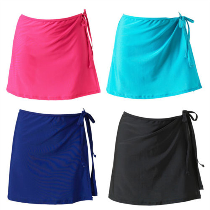 Women Fashion Beach Vacation Bikini Skirt Solid Color Lace-Up Mini Skirt Female Swim Bikini Bottom Hot Sale