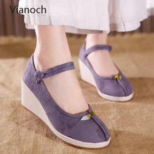 Fashion New Women Casual Shoes Buckled Up Wedges Shoe High Heels Pumps Woman wo1808126