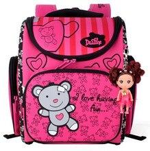 Delune kinder schultaschen für mädchen cute bear orthopädische rucksäcke primäre bookbag mochila escolar schule portfolio rucksäcke