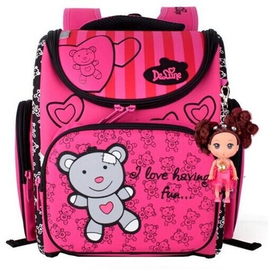 Delune niños mochilas escolares para las niñas lindo oso cartera escuela mochilas mochilas bookbag mochila escolar primaria ortopédicos