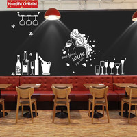 Beauty girls beer pattern glass stickers living room restaurant barbecue shop dining table wall window glass door wall stickers