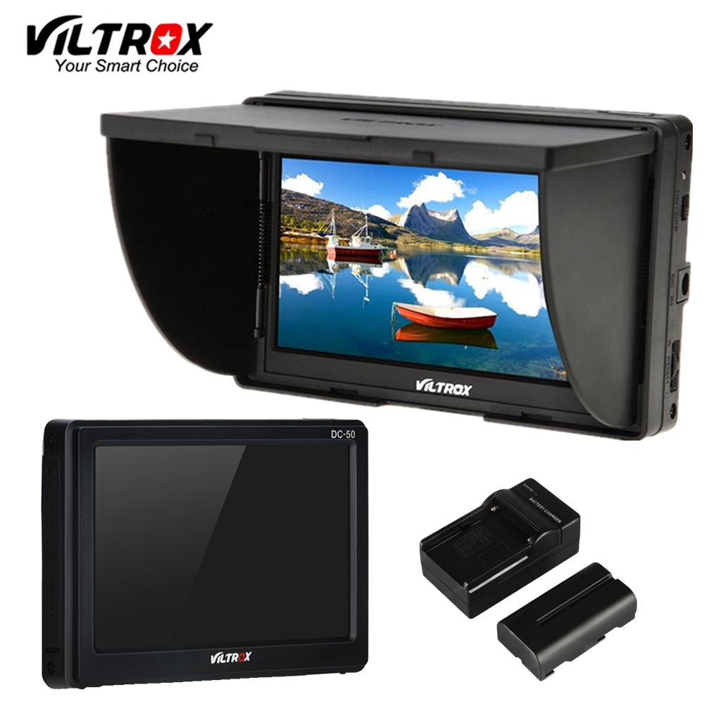 Viltrox DC-50 5'' DSLR TFT field LCD Micro HDMI Camera Video Monitor  Battery+Charger for Canon Nikon Sony A9 A7II A7SII A6500