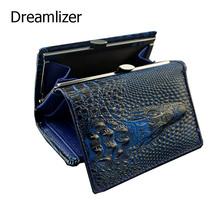 Royal Short Genuine Leather  Women Female Shining Alligator Wallet 3 Fold Zipper Coin Pocket Billeteras Mujer Purse Wallet Women
