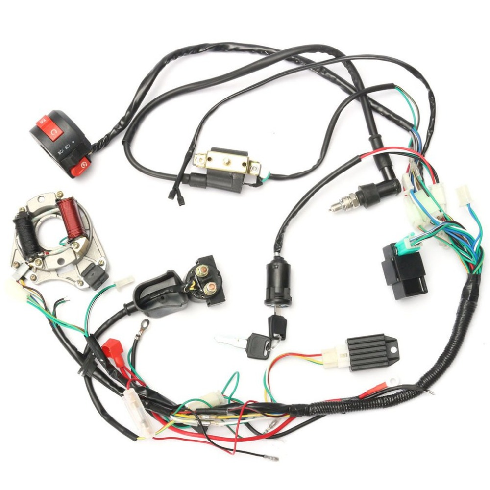 Professional Motorcycle CDI Wiring Harness Loom Ignition Solenoid Coil Rectifier for 50cc-125cc PIT Quad Dirt Bike ATV