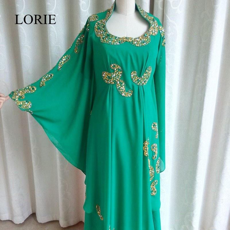 38a6867cfc019 Musulman Maxi Manches Longues Islamique Femmes Robe de Soirée 2017 LORIE  Cristal Perle Formelle Arabe Caftan Vert En Mousseline de Soie Longue De  Bal Robes
