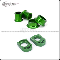 Motorcycle CNC Green Front Rear Wheel Hub Spracers And Rear Chain Adjuster Axle Block For KX125 KX250 06 08 KXF250 KXF450 06 14
