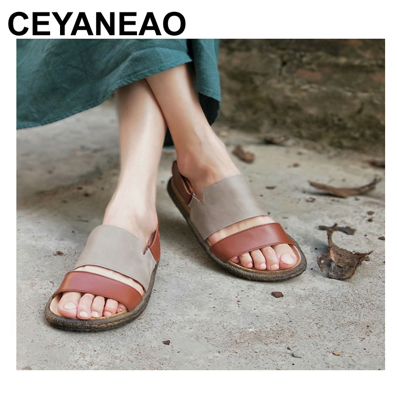 CEYANEAO Women's Shoes Flat Sandals Genuine Leather Women's Sandals Flat Casual Open Toe Bohemian Sandals Female Summer Shoe цена и фото