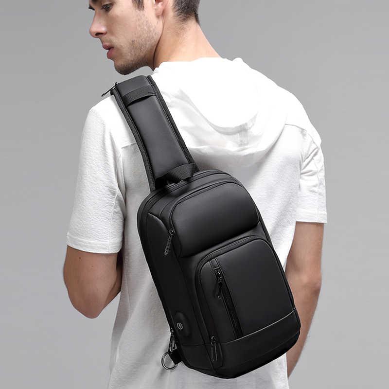 Eurcool preto peito packs men usb de carregamento casual ombro crossbody sacos repelente de água viagem mensageiro saco masculino n1820
