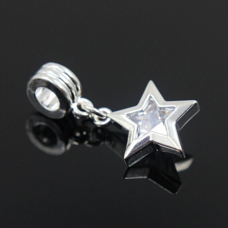 2528ff9c740a Nuevo envío libre 1 unids plata del encanto del grano europeo de plata con  circón estrella colgante encanto Pandora pulsera