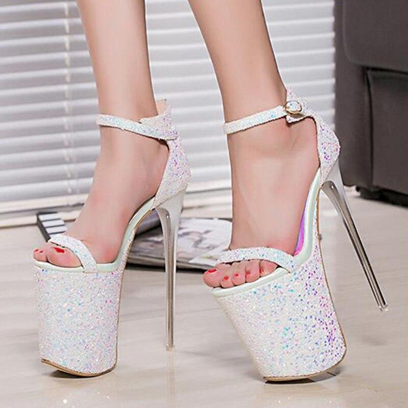 ФОТО 2016 Fashion Summer 20cm Sexy Thin Heels Women Sandals High Heels Women Shoes Sandals Hot Sales 2 colors SIZE 34-43
