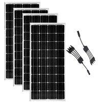 100 w 12 v солнечный модуль 4 шт Солнечная фотоэлектрических панелей 400 w монокристаллического 4 в 1 разъем 12/24 вольт батареи решетки RV